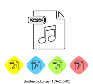Grey line WAV file document. Download wav button icon isolated on white background. WAV waveform audio file format for digital audio riff files. Set icons in color rhombus buttons.