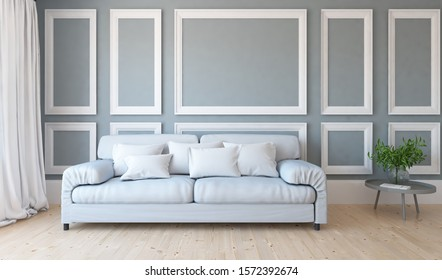 Grey living room interior with sofa on a wooden floor, decor on a large wall, white landscape in window with curtains. Home nordic interior. 3D illustration