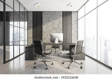 Grey manage room with black armchairs and table with computer. Office minimalist furniture, near window in business office, 3D rendering no people