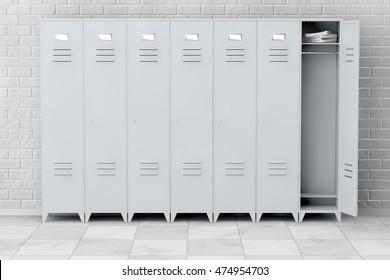 Grey Metal Lockers in front of brick wall. 3d Rendering