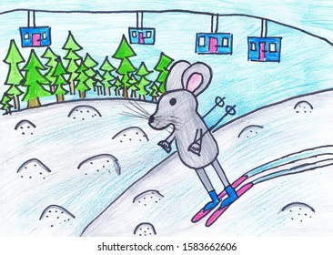 A grey mouse skis off the mountain. Children 's drawing