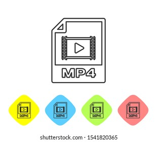 Grey MP4 file document icon. Download mp4 button line icon isolated on white background. MP4 file symbol. Set icon in color rhombus buttons