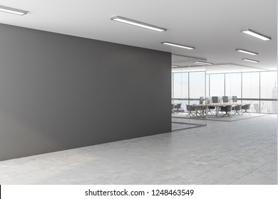 Grey office with copy space on wall and city view. Mock up, 3D Rendering