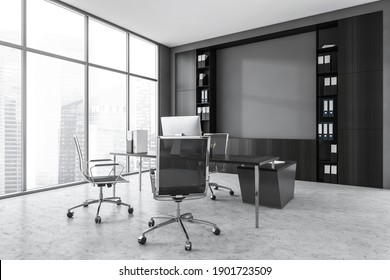 Grey office room with armchairs, table with computer and black shelf, side view, near window on marble floor. Business modern luxury consulting office room, 3D rendering no people