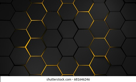 grey and orange hexagons modern background 3d illustration
