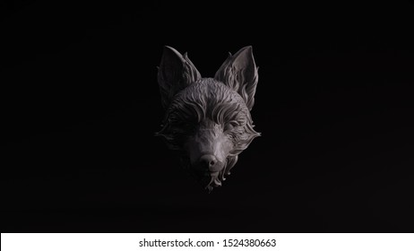 Grey Polished Stone Fox Bust Sculpture Front View 3d illustration 3d render