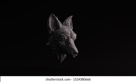 Grey Polished Stone Fox Bust Sculpture Right View 3d illustration 3d render
