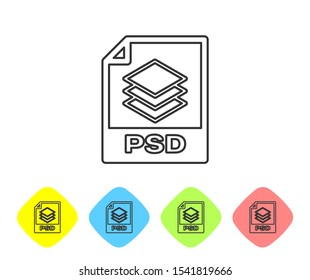 Grey PSD file document icon. Download psd button line icon isolated on white background. PSD file symbol. Set icon in color rhombus buttons