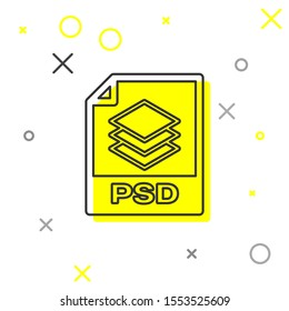 Grey PSD file document icon. Download psd button line icon isolated on white background. PSD file symbol
