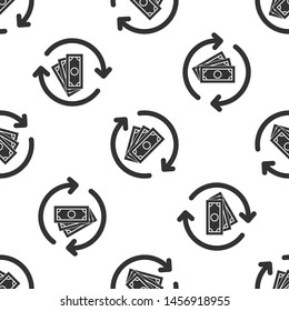 Grey Refund money icon isolated seamless pattern on white background. Financial services, cash back concept, money refund, return on investment, savings account