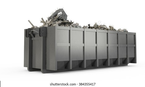 Grey rubble container isolated on white background