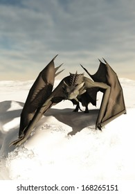 Grey scaled dragon prowling through a snowy winter landscape, 3d digitally rendered illustration
