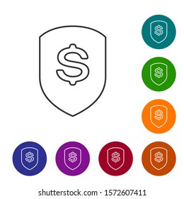 Grey Shield and dollar line icon isolated on white background. Security shield protection. Money security concept