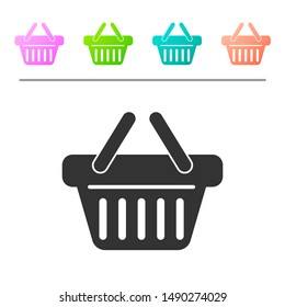 Grey Shopping basket icon isolated on white background. Set icon in color buttons