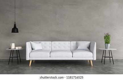 grey sofa in living room, 3D rendering