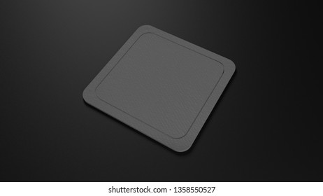 grey Square coaster mockup with rounded corner on isolated background, 3D render