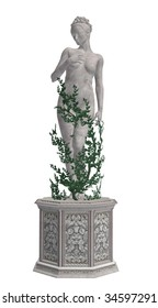 Grey statue with vines