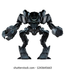 Grey steel futuristic sci-fi mech warrior robot  standing with grab arm and gun isolated on white background front view.