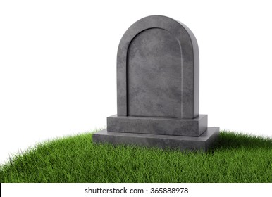 Grey stone gravestone on green grass with copy space Isolated on white background.