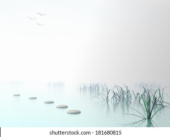 Grey stones steps upon the ocean going to white sun near grass
