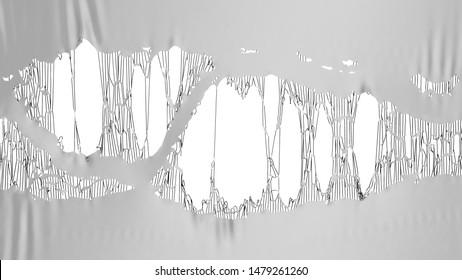 grey torn fabric 3d render image