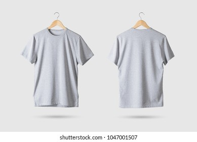 Grey T-Shirt Mock-up on wooden hanger, front and rear side view. 3D Rendering.