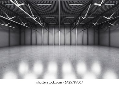 Grey warehouse interior with reflections on concrete floor. Storage concept. 3D Rendering
