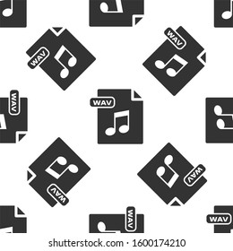 Grey WAV file document. Download wav button icon isolated seamless pattern on white background. WAV waveform audio file format for digital audio riff files.