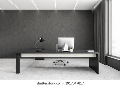 Grey and white light business office room with minimalist furniture, table with lamp and computer near window. 3D rendering, no people