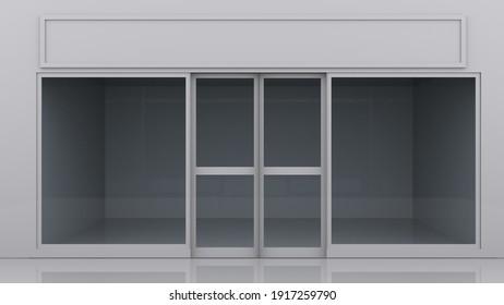 Grey white shop font 3D Illustration