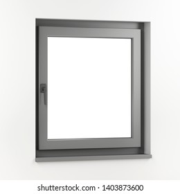 Grey window on a white wall, 3D illustration