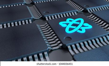 Grid of black chips with a blue atom symbol quantom computing concept 3D illustration