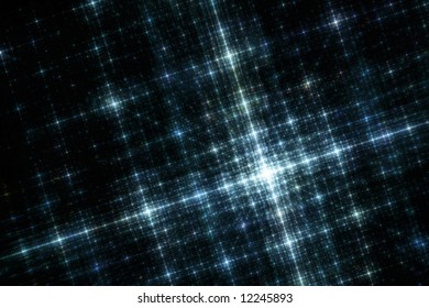 Grid of Blue City Lights at Night Fractal Illustration