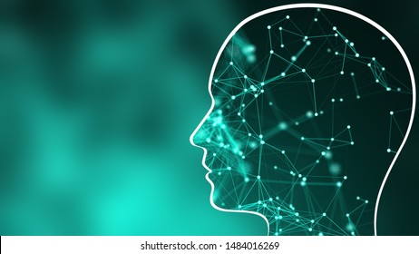 Grid of thin straight lines connected by dots inside the head profile on a green, computer generated background, 3d rendering