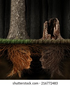 Grief And Grieving concept as two trees with roots shaped as human heads with one dead tree in a forest as a symbol for loss and a metaphor for spirituality in mourning a loved one that has died.
