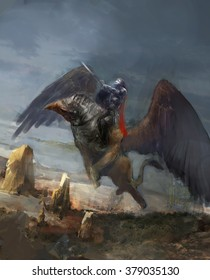 griffin on flying above  mountain