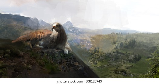 griffon laying down on the rock
