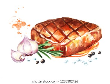 Grilled beef steaks with spices and fresh tomatoes. Watercolor hand drawn illustration, isolated on white background