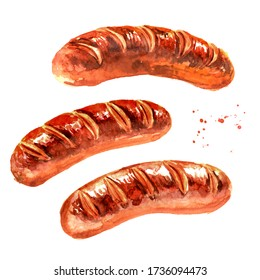 Grilled sausages set. Hand drawn watercolor illustration isolated on white background