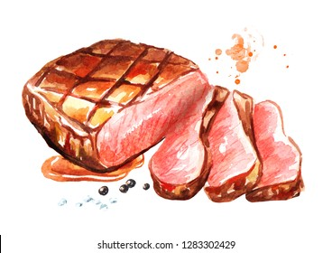 Grilled sliced beef steak. Watercolor hand drawn illustration, isolated on white background