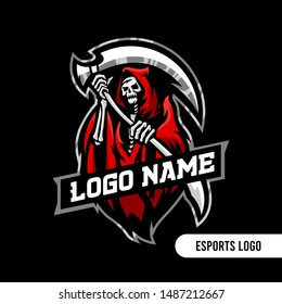 grim reaper Angel of Death skull esports and sports logo template