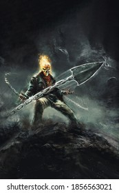 grim reaper with a burning skull, with a chain - fantasy illustration, fictional character