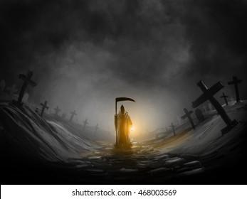 Grim reaper  and Graveyard