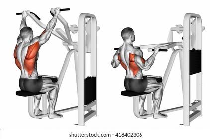 Grip machine lat pulldown. 3D illustration
