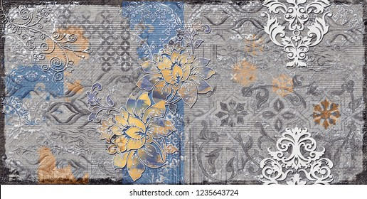 Grista-Grey wall art Decor, Grey Colored Digital wall tiles Design for Home or abstract grey color wall decor