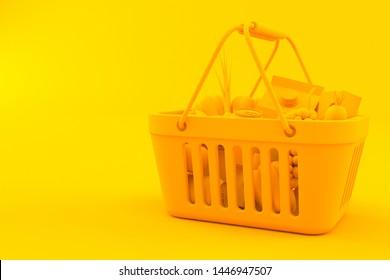Grocery background. 3d illustration in orange color. 3d illustration