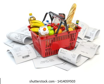 Grocery expenses budget  and consumerism. Shopping basket with foods on the pile of receipt isolated on white. 3d illustration