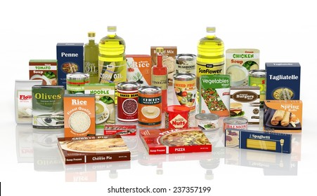 Grocery food package product collection, Isolated on white background