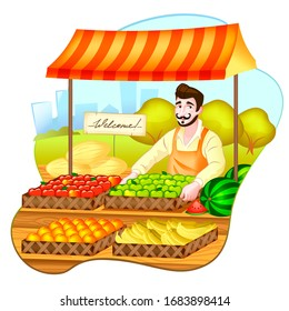 Grocery illustration on white background. Charming grocer offers fruit in boxes.