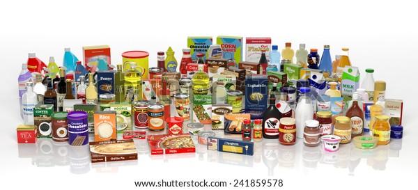Produits d'épicerie isolés sur fond blanc. Illustration 3d